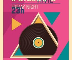 DJ session poster template retro vector 01
