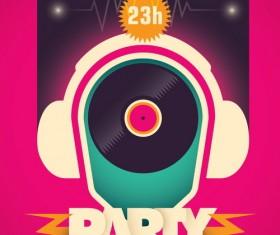 DJ session poster template retro vector 02