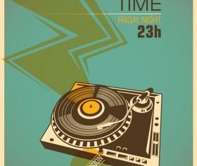 DJ session poster template retro vector 03
