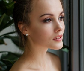 Delicate beautiful face of woman Stock Photo