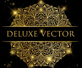 Deluxe golden ornament illustration vector material 02
