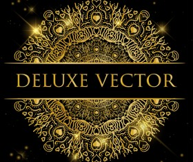 Deluxe golden ornament illustration vector material 08