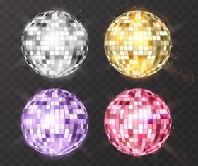 Disco neon balls illustration vector 01