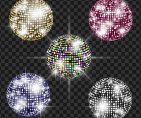 Disco neon balls illustration vector 02
