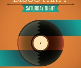 Disco party poster retro template vector 01
