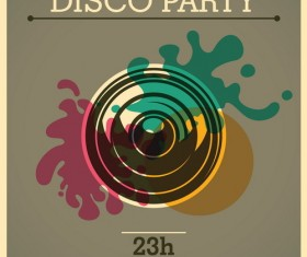 Disco party poster retro template vector 02