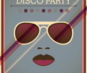 Disco party poster retro template vector 03