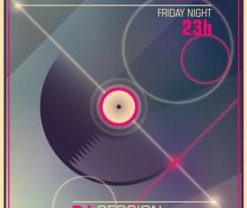 Disco party poster retro template vector 04