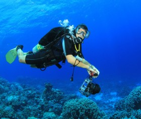 Diver with beautiful underwater world Stock Photo 08