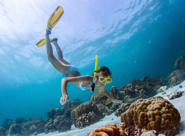 Diving woman Stock Photo 02