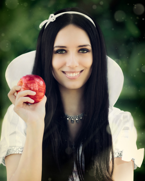 Dress up Snow White girl Stock Photo 01