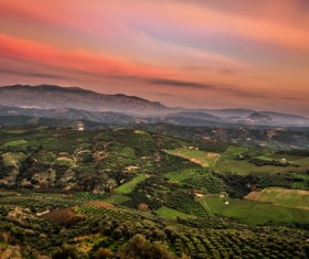 Dusk pastoral landscape aerial photography Stock Photo