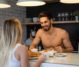 Eating breakfast Couple Stock Photo 01