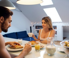 Eating breakfast Couple Stock Photo 02