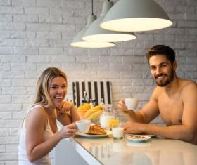 Eating breakfast Couple Stock Photo 04