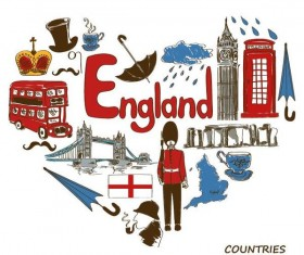 England country elements with heart shape vector