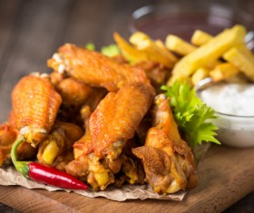 Enticing appetite fried chicken set meal Stock Photo 02
