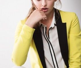 Expressionless woman Stock Photo