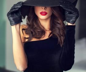 Fashion black costume woman Stock Photo 01