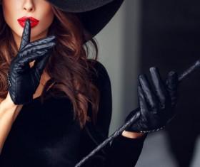 Fashion black costume woman Stock Photo 02