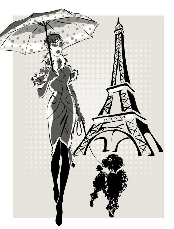 Fashion girl and eiffel tower hand drawing vector 01
