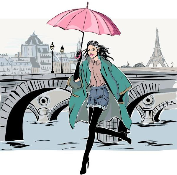 Fashion girl and eiffel tower hand drawing vector 02