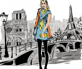Fashion girl and eiffel tower hand drawing vector 03