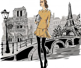 Fashion girl and eiffel tower hand drawing vector 04