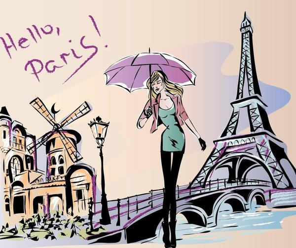 Fashion girl and eiffel tower hand drawing vector 05