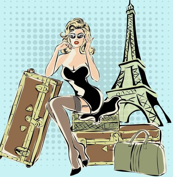 Fashion girl and eiffel tower hand drawing vector 06