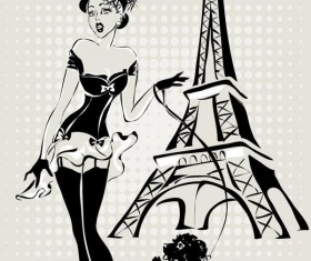Fashion girl and eiffel tower hand drawing vector 07