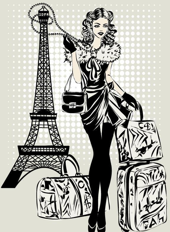 Fashion girl and eiffel tower hand drawing vector 08