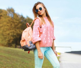 Fashion girl with backpack Stock Photo 02