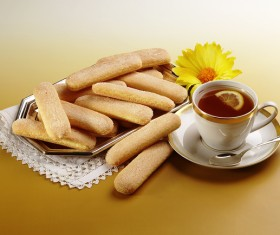 Finger cookie with coffee Stock Photo