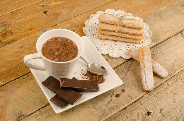 Finger cookie with coffee and chocolate candy Stock Photo