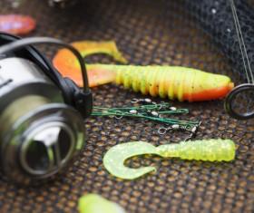 Fishing gear on the desktop Stock Photo 03