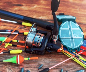 Fishing gear on the desktop Stock Photo 04