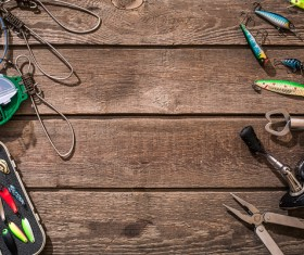 Fishing gear on the desktop Stock Photo 05
