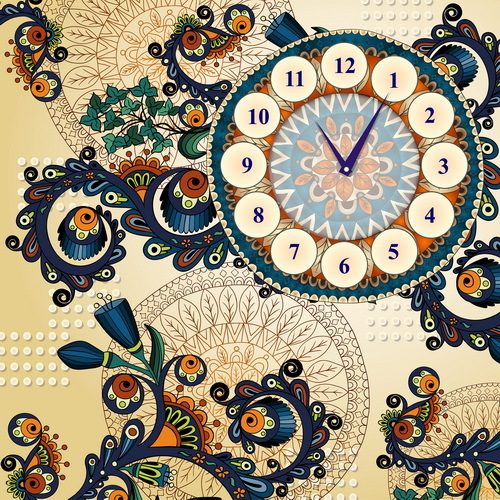 Floral decorative background with clock vector
