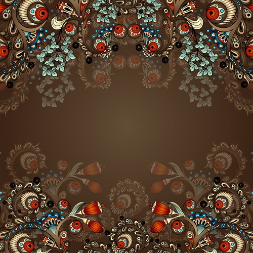 Floral decorative vintage frame vector 02