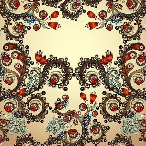 Floral decorative vintage frame vector 03