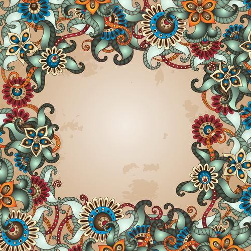 Floral decorative vintage frame vector 04