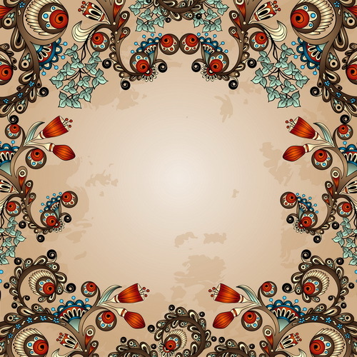 Floral decorative vintage frame vector 05