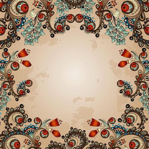 Floral decorative vintage frame vector 05