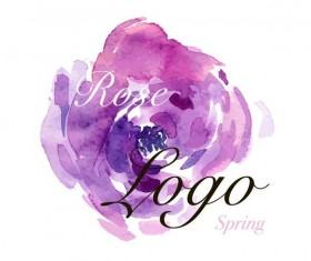Flower watercolor logo vector 01