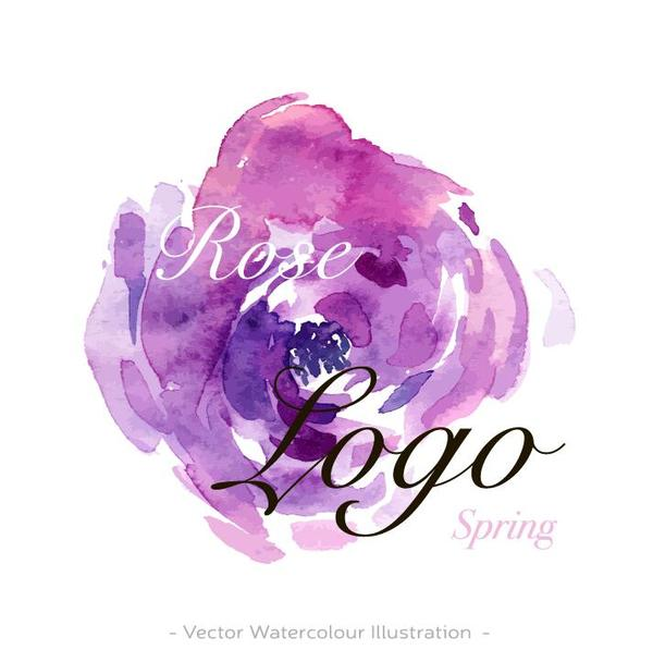 Flower Watercolor Logo Vector 01 Free Download