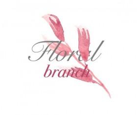 Flower watercolor logo vector 03