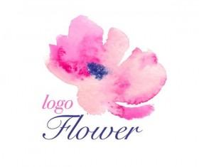 Flower watercolor logo vector 04