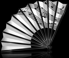 Folding fan and music note vector