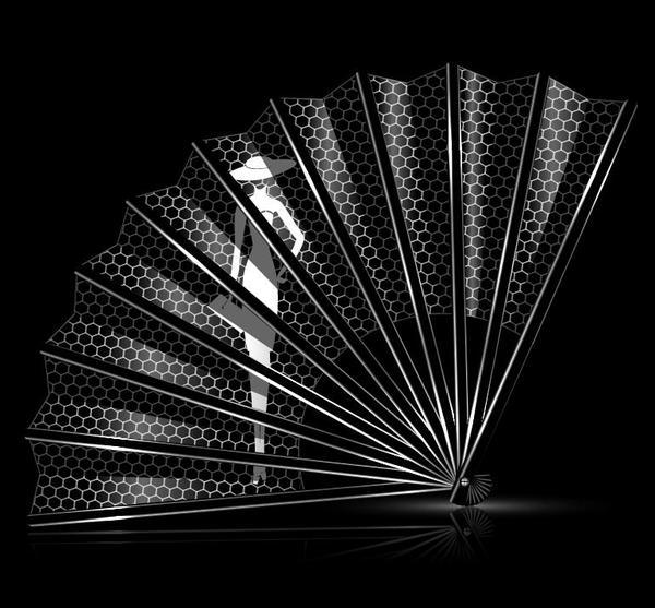 Folding fan with girl vector